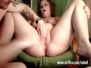 aged housewife has her legs widen for a brutal