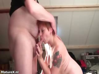 naughty aged housewive sucks and kisses