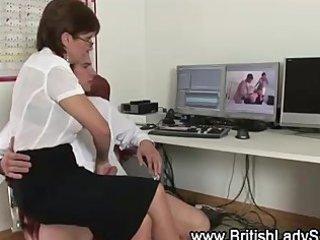 aged stockinged brit sucks and jerks