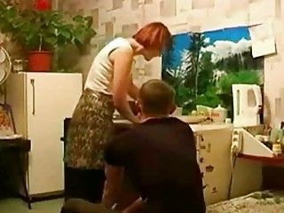 russian readhead older mother and son