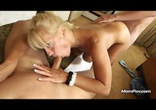 breasty aged acquires facial and creampie