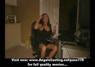 breasty latin babe toying pussy and undressing