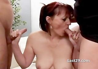 cougar acquires a gang group-sex fuck